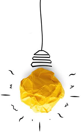 Bombillo de papel amarillo