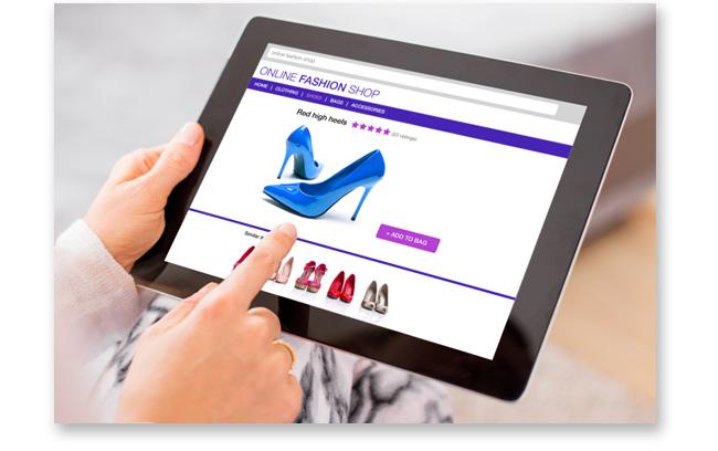 Tableta con tienda en línea