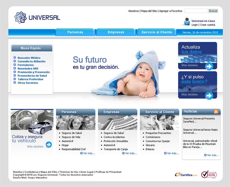 Diseño de Website Seguros Universal