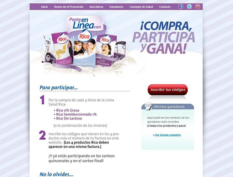 Website promocional Leche Rica