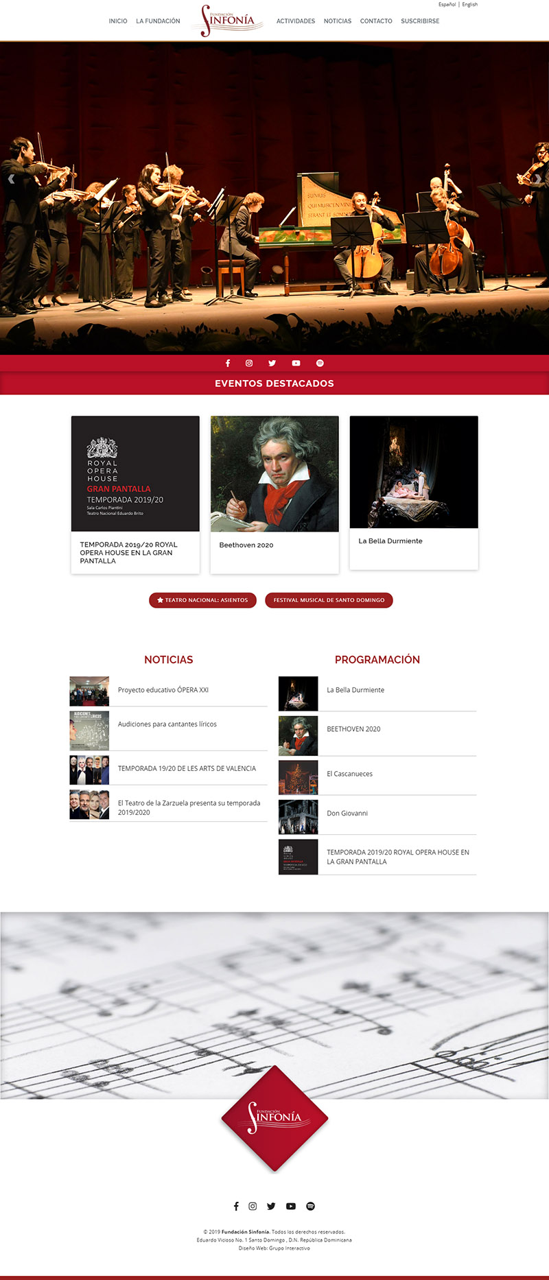 Diseño de website Fundación Sinfonía