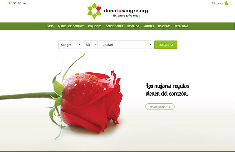 Screenshot de la portada Donatusangre.org