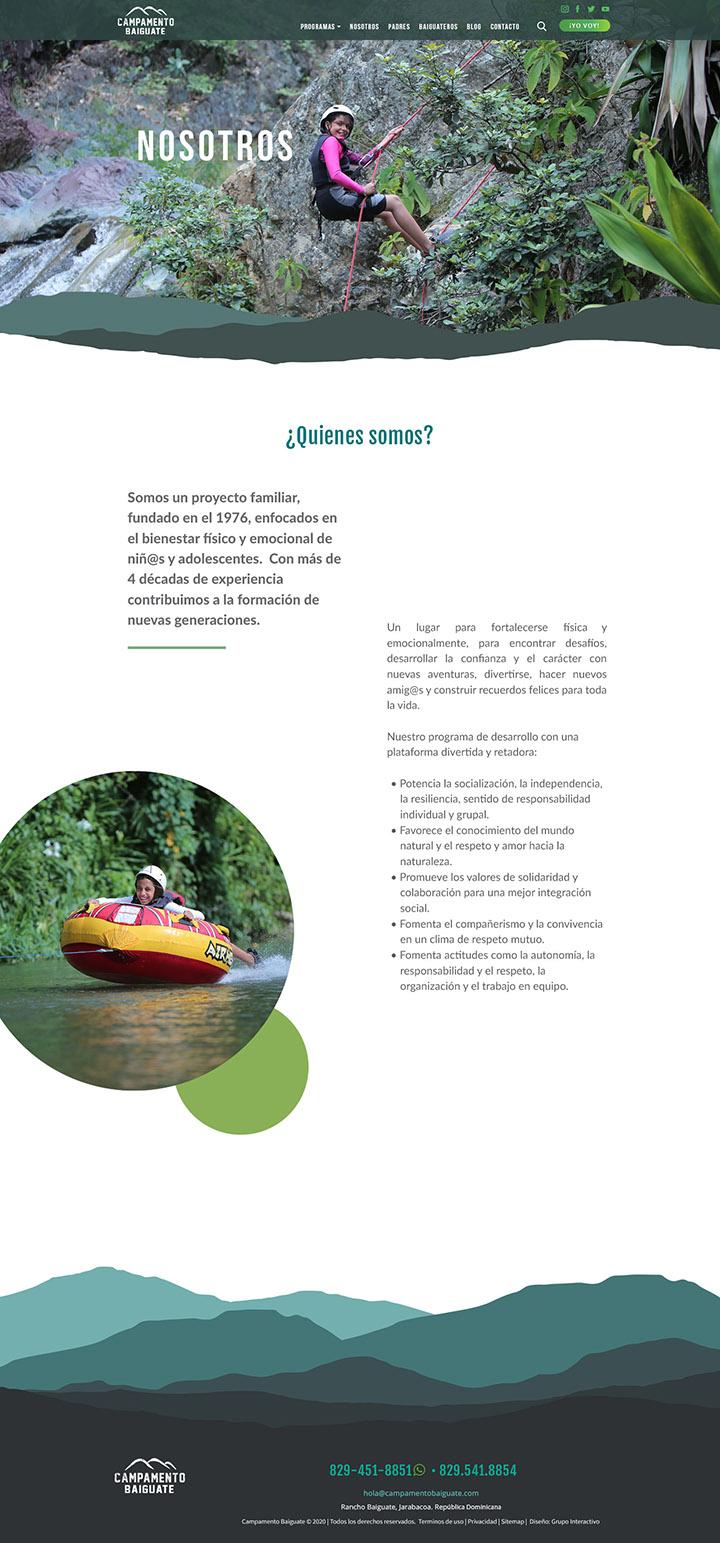 Diseño de website Campamento Baiguate