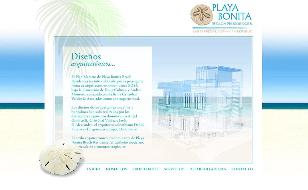 Pantalla del website Playa Bonita diseñado por Grupo Interactivo