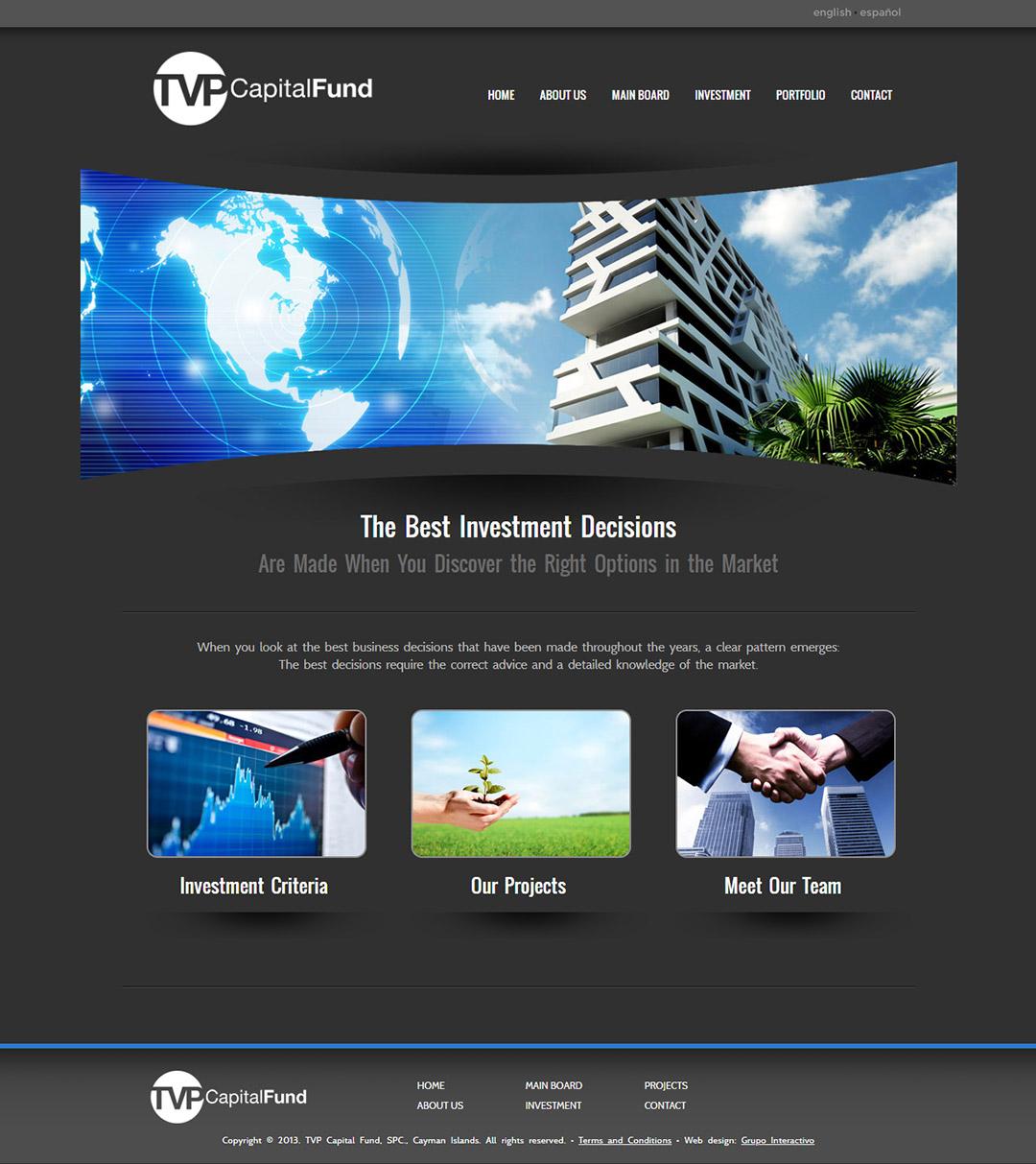 Pantalla del website TVP Capital Fund diseñado por Grupo Interactivo
