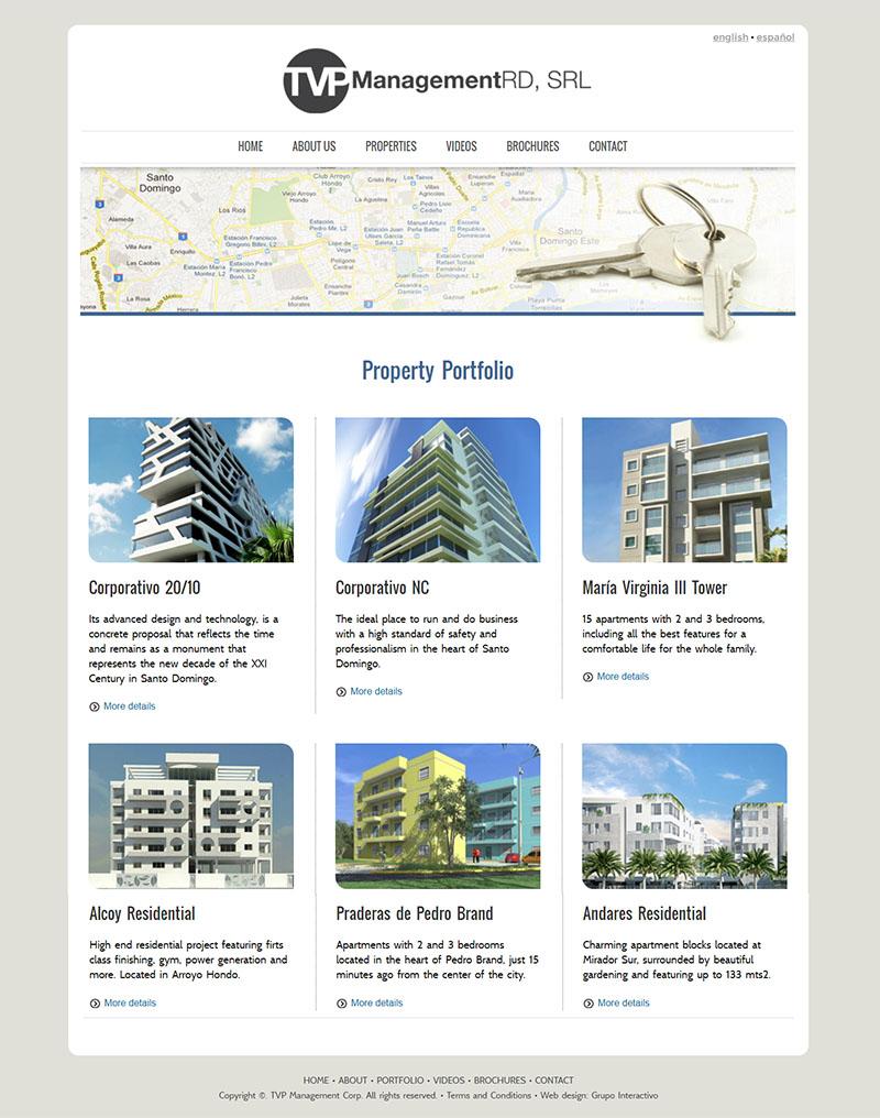 Pantalla del website TVP Management diseñado por Grupo Interactivo